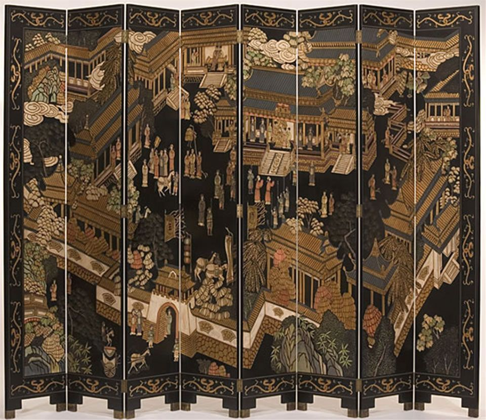 8-Panel-Ming-Dynasty-Hand-Painted-Wood-Screen-Design-by-Moissonnier